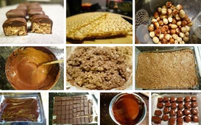 Ингредиенты: 150 гр. молочного шоколада 150 гр. темного шоколада 50 мл. 33% сливок 30 гр. сливочного масла 100 гр. фундука 50 гр. сухих вафель без начинки 150 гр. темного шоколада для глазирования.  Приготовление: 1.Беру вафли и режу их на кусочки,не в пыль. 2.Потом фундук. 3.Рублю его средне, не в крошку. 4.Затем топлю молочный шоколад в микроволновке 1.15 минуты при мощности 1000 Ватт. 5.Все это смешиваю. 6.Выкладываю на пергамент в коробку с бортиками. Ставлю в холодильник застыть на час- другой. 7.Принимаюсь за ганаш. Грею сливки в микроволновке,добавляю темный шоколад и масло. 8.Все это тщательно перемешиваю. 9.Заливаю заранее приготовленную фундучно-вафельную основу. Опять в холодильник застывать часа на 2. 10.Застывшую вкуснотищу режу горячим ножом на кусочки. 11.Топлю темный шоколад 1.15 минуты в микроволновке при мощности 1000 Ватт. 12.Глазирую темным шоколадом. И снова в холодильник застывать.