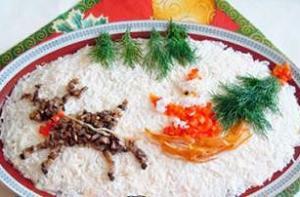 Новогодний салат Дед Мороз - новогодние рецепты