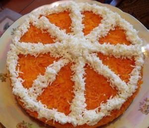 """Праздничный слоеный салат """"Долька апельсина"""""""