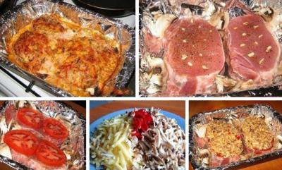 Острая свинина с сыром и грибами в духовке