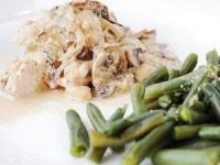 Куриное филе с грибами и стручковой фасолью
