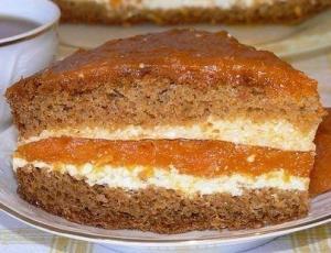 Торт с курагой и творогом