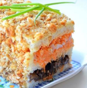 Бутербродный торт с баклажаном, морковью и ветчиной