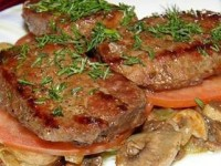 Жареная печень с грибами и луком