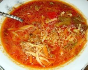 Острый суп с лапшой