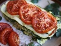Лазанья из кабачков, помидоров и сыром из кешью