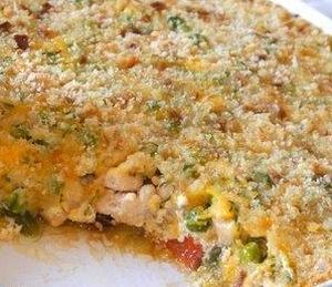 Гратен из овощей и курицы