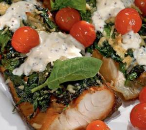 Копченая рыба со шпинатом