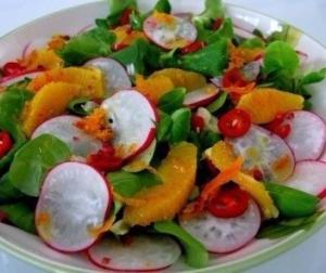 Салат из редиса и апельсинов